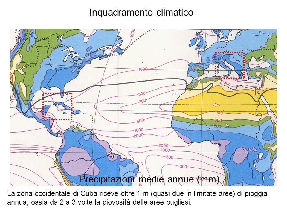 Inquadramento climatico Precipitazioni medie annue (mm) La zona occidentale di Cuba riceve oltre 1 m (quasi due in limitate aree) di pioggia annua, os