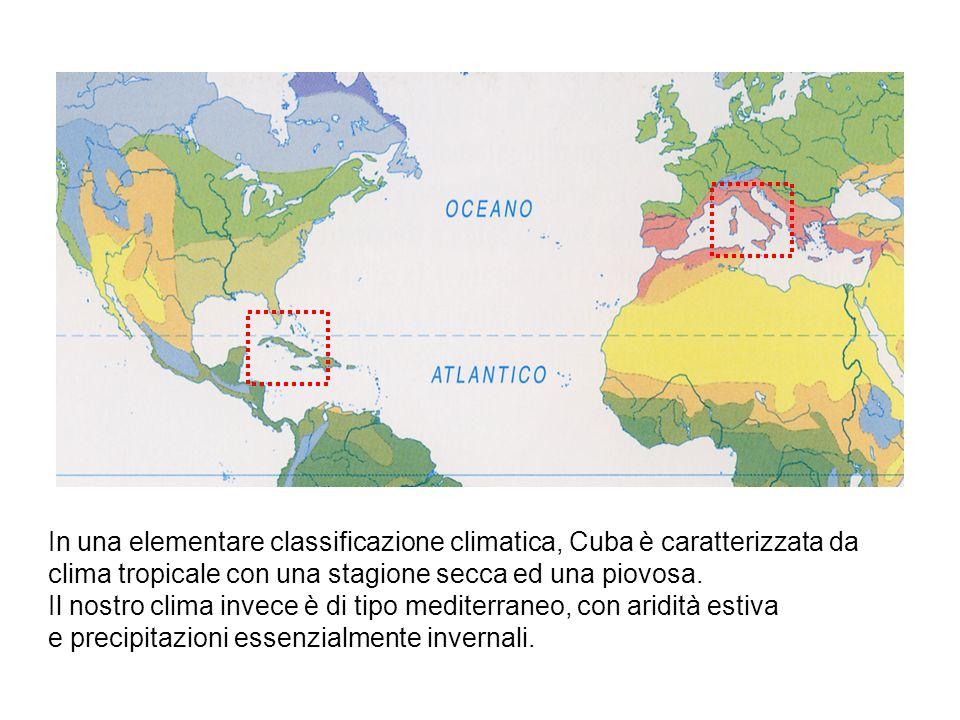 In una elementare classificazione climatica, Cuba è caratterizzata da clima tropicale con una stagione secca ed una piovosa. Il nostro clima invece è