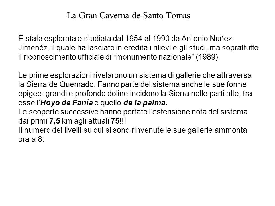 La Gran Caverna de Santo Tomas È stata esplorata e studiata dal 1954 al 1990 da Antonio Nuñez Jimenéz, il quale ha lasciato in eredità i rilievi e gli