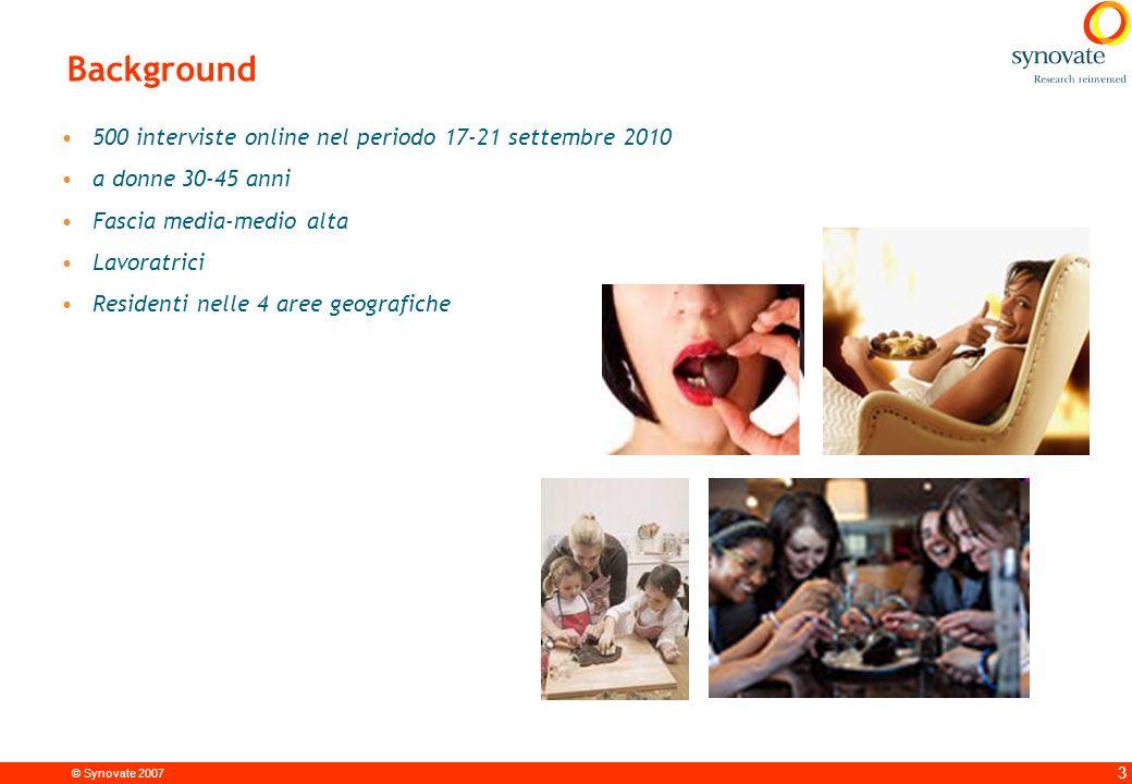 © Synovate 2007 3 Background 500 interviste online nel periodo 17-21 settembre 2010 a donne 30-45 anni Fascia media-medio alta Lavoratrici Residenti nelle 4 aree geografiche
