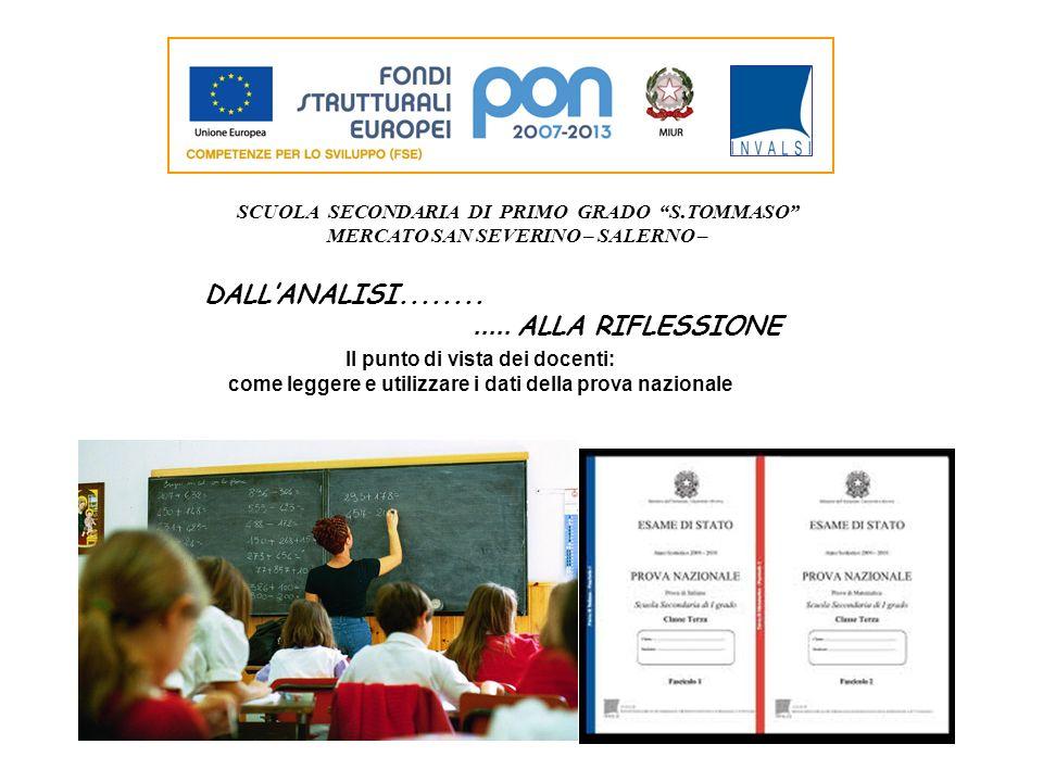 SCUOLA SECONDARIA DI PRIMO GRADO S.TOMMASO MERCATO SAN SEVERINO – SALERNO – DALLANALISI............. ALLA RIFLESSIONE Il punto di vista dei docenti: c
