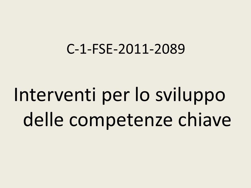 C-1-FSE-2011-2089 Interventi per lo sviluppo delle competenze chiave