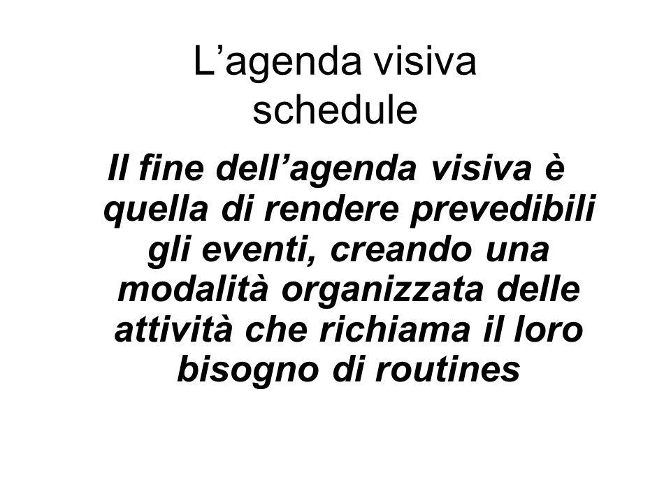 Lagenda visiva schedule Il fine dellagenda visiva è quella di rendere prevedibili gli eventi, creando una modalità organizzata delle attività che rich