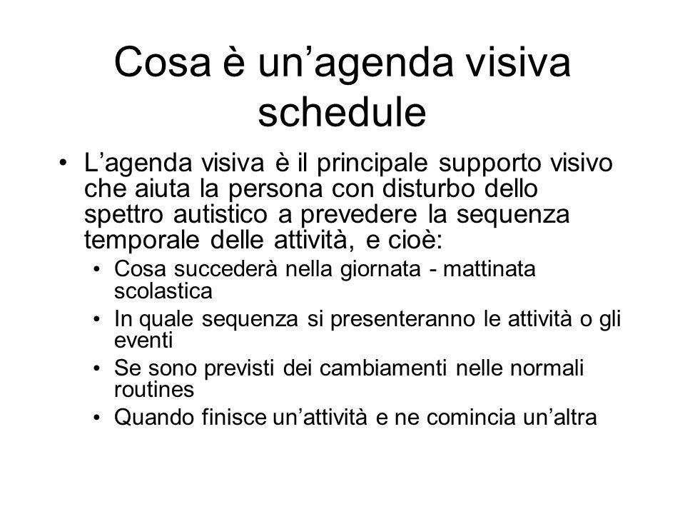 Cosa è unagenda visiva schedule Lagenda visiva è il principale supporto visivo che aiuta la persona con disturbo dello spettro autistico a prevedere l