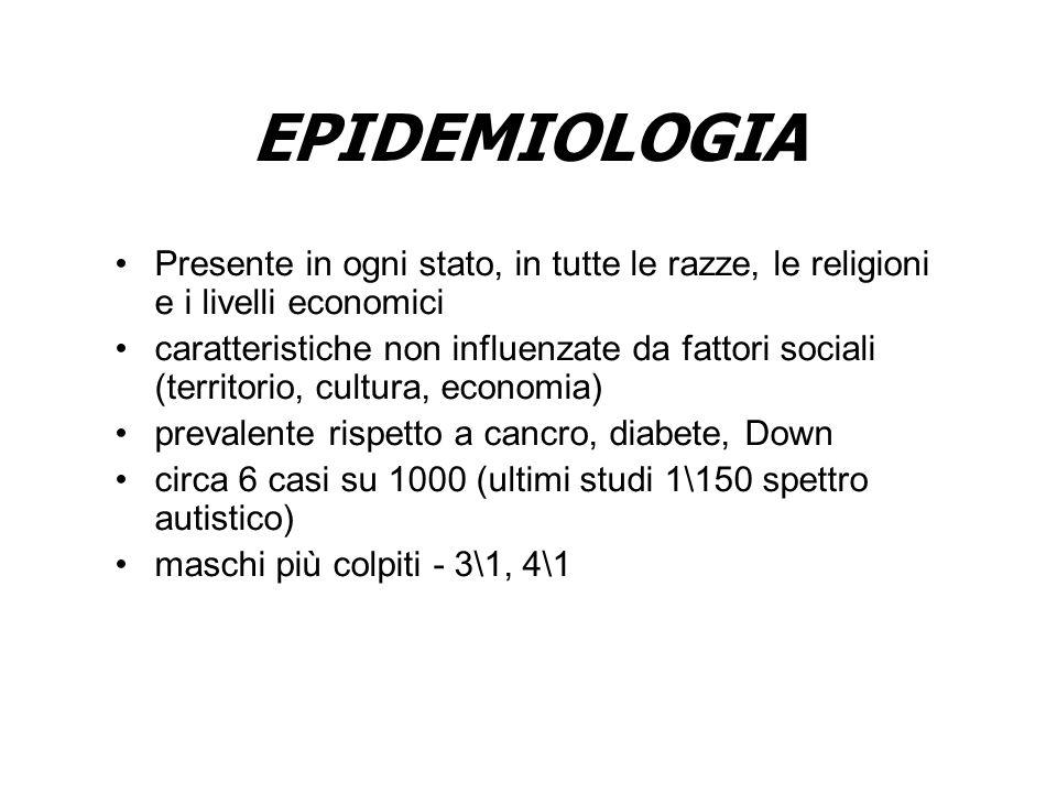 EPIDEMIOLOGIA Presente in ogni stato, in tutte le razze, le religioni e i livelli economici caratteristiche non influenzate da fattori sociali (territ