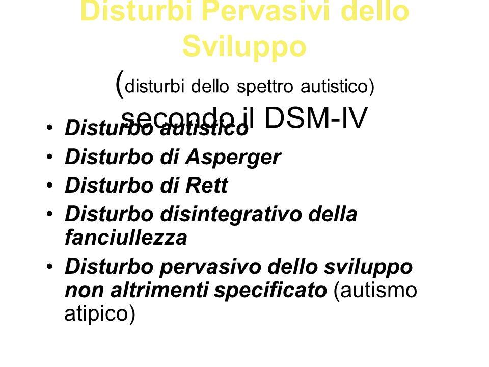 Disturbi Pervasivi dello Sviluppo ( disturbi dello spettro autistico) secondo il DSM-IV Disturbo autistico Disturbo di Asperger Disturbo di Rett Distu