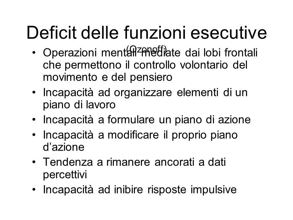 Deficit delle funzioni esecutive (Ozonoff) Operazioni mentali mediate dai lobi frontali che permettono il controllo volontario del movimento e del pen