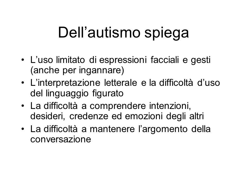 Dellautismo spiega Luso limitato di espressioni facciali e gesti (anche per ingannare) Linterpretazione letterale e la difficoltà duso del linguaggio