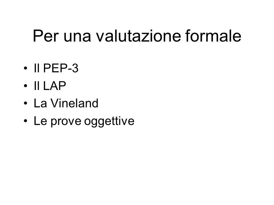 Per una valutazione formale Il PEP-3 Il LAP La Vineland Le prove oggettive