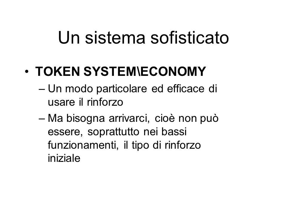 Un sistema sofisticato TOKEN SYSTEM\ECONOMY –Un modo particolare ed efficace di usare il rinforzo –Ma bisogna arrivarci, cioè non può essere, soprattu