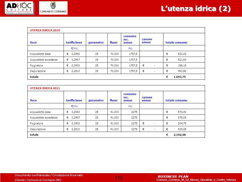 Documento confidenziale / Circolazione Riservata Cliente: Comune di Cormano (Mi) Comune_Cormano_06_03_Museo_Giocattolo_e_Centro_Infanzia COMUNE DI CORMANO BUSINESS PLAN 176 20102011 RICAVO ANNUO 17.850,00 COSTO ANNUO 9.330,00 MAGAZZINO (RIMANENZA) 52.870,00 43.540,00 Royalties BoT 20% 3.570,00 Ricavo struttura servizio 14.280,00 Il merchandising (1) RATIONALI: Rispetto al merchandising è stata sviluppata una simulazione sulla base della linea prodotti suggerita nel masterplan.