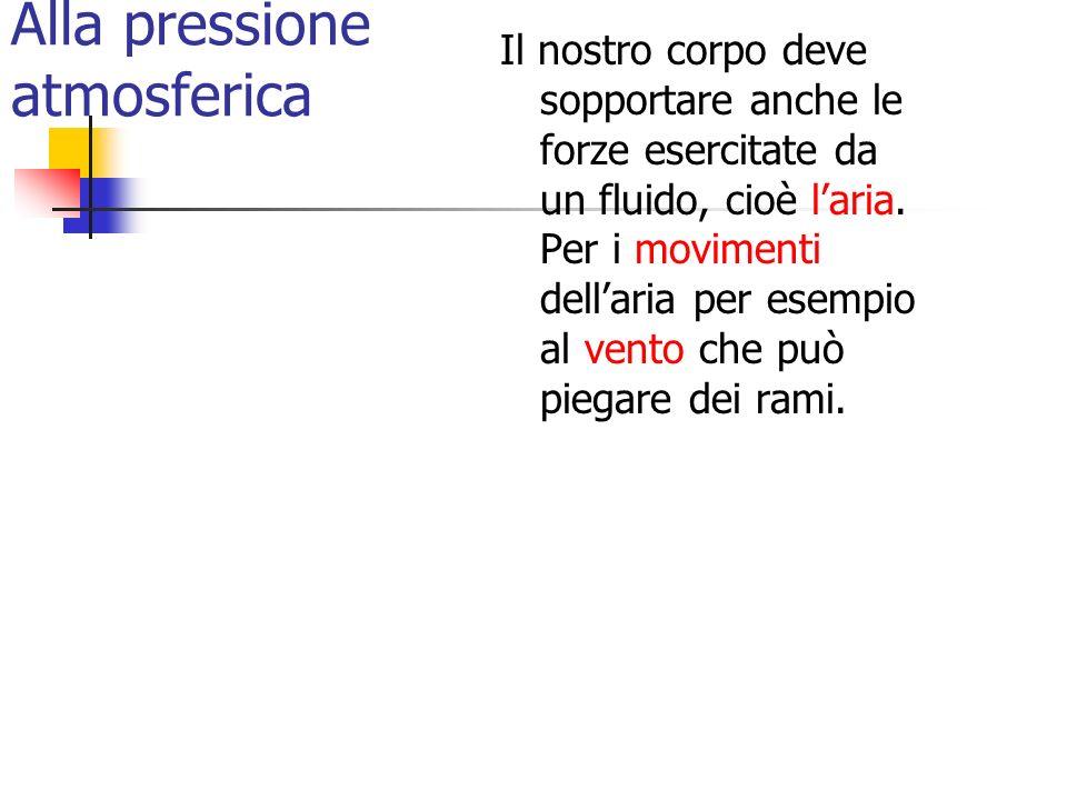 Alla pressione atmosferica Il nostro corpo deve sopportare anche le forze esercitate da un fluido, cioè laria. Per i movimenti dellaria per esempio al