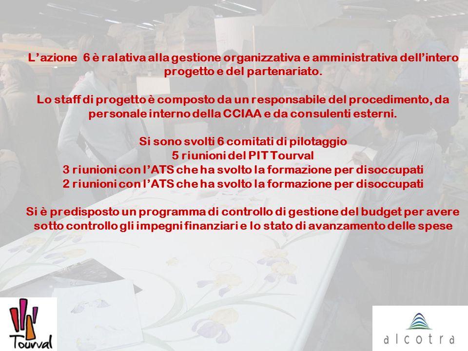 Lazione 6 è ralativa alla gestione organizzativa e amministrativa dellintero progetto e del partenariato. Lo staff di progetto è composto da un respon