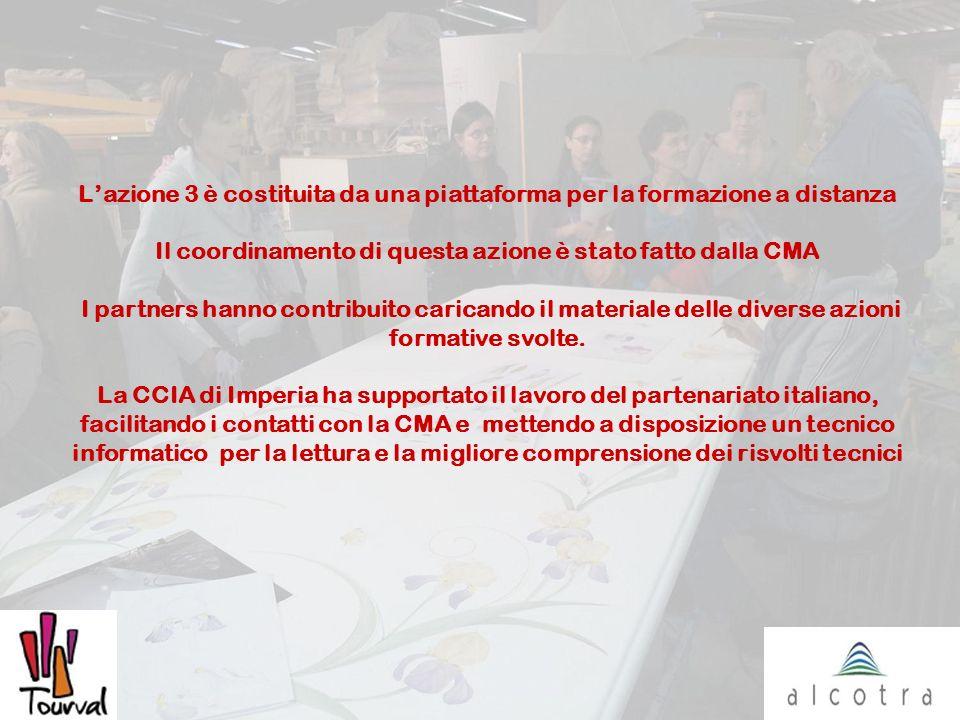 Lazione 3 è costituita da una piattaforma per la formazione a distanza Il coordinamento di questa azione è stato fatto dalla CMA I partners hanno contribuito caricando il materiale delle diverse azioni formative svolte.