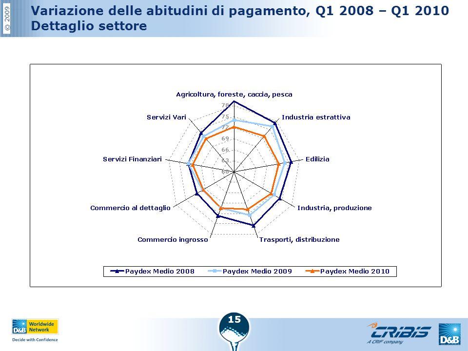 © 2009 15 Variazione delle abitudini di pagamento, Q1 2008 – Q1 2010 Dettaglio settore