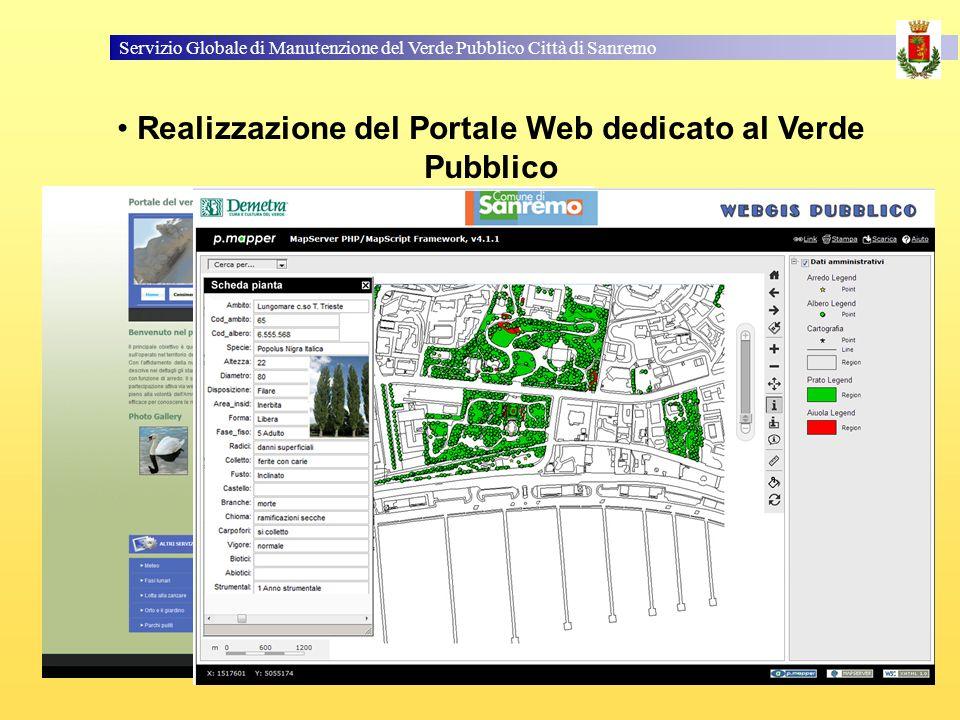 Servizio Globale di Manutenzione del Verde Pubblico Città di Sanremo Realizzazione del Portale Web dedicato al Verde Pubblico