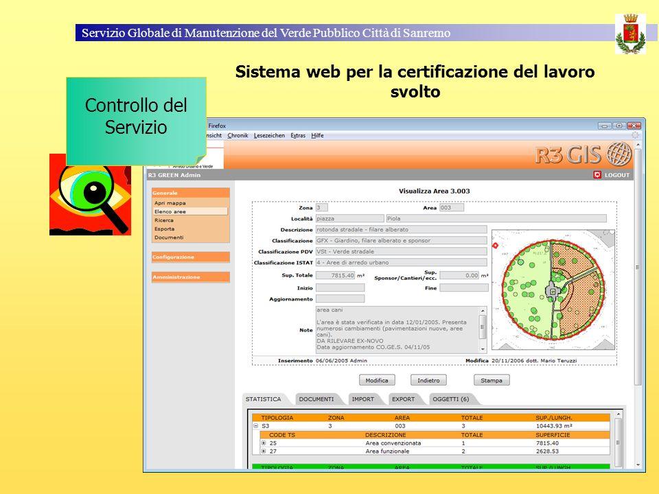 Servizio Globale di Manutenzione del Verde Pubblico Città di Sanremo Sistema web per la certificazione del lavoro svolto Controllo del Servizio