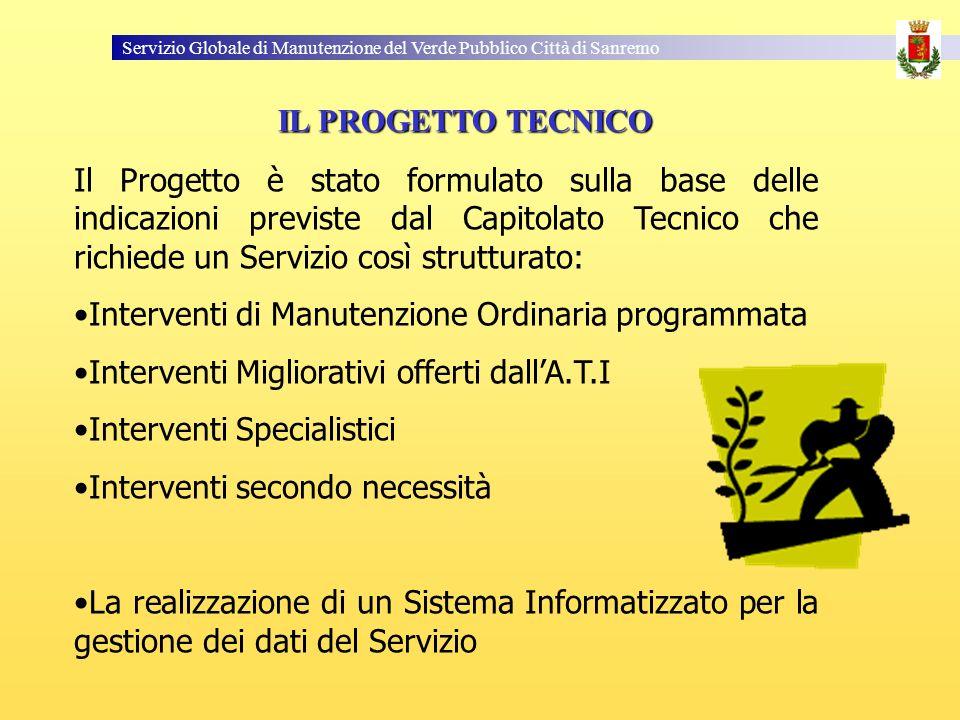 Servizio Globale di Manutenzione del Verde Pubblico Città di Sanremo Il Progetto è stato formulato sulla base delle indicazioni previste dal Capitolat