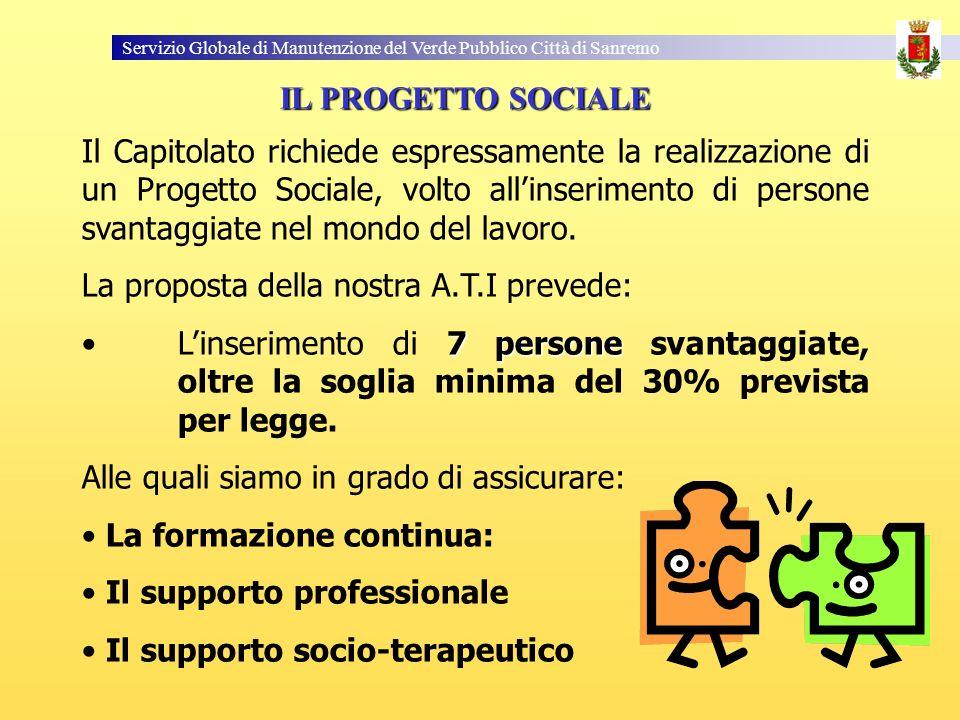 Servizio Globale di Manutenzione del Verde Pubblico Città di Sanremo Il Capitolato richiede espressamente la realizzazione di un Progetto Sociale, volto allinserimento di persone svantaggiate nel mondo del lavoro.