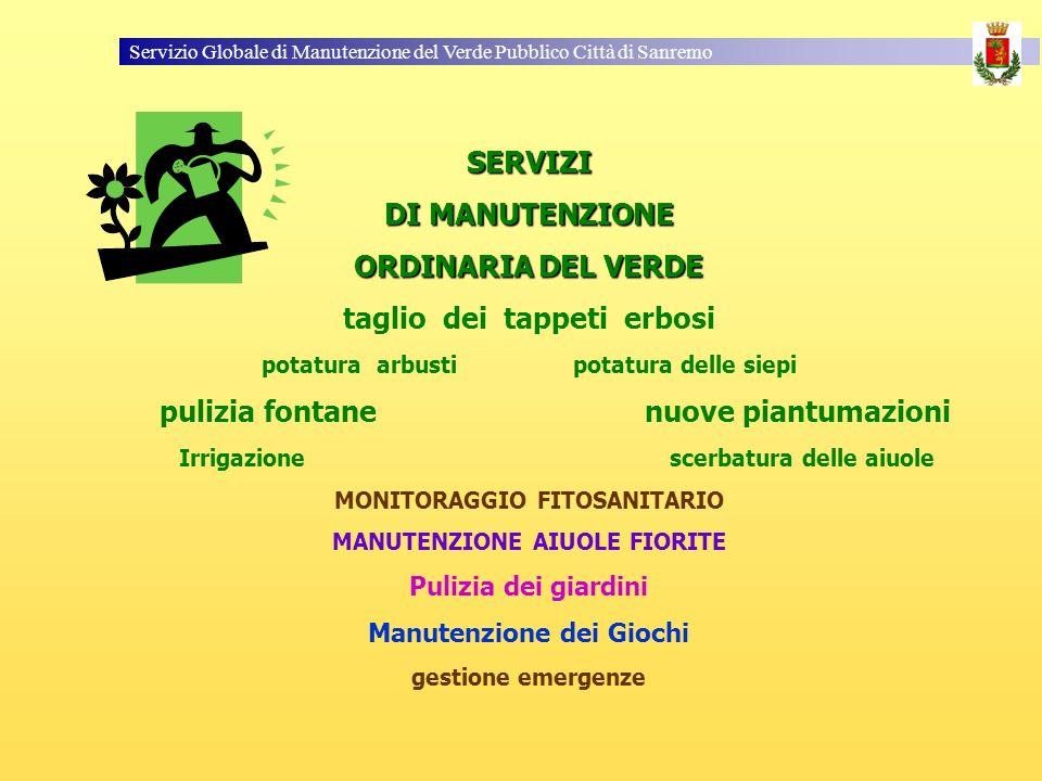 Servizio Globale di Manutenzione del Verde Pubblico Città di Sanremo SERVIZI DI MANUTENZIONE ORDINARIA DEL VERDE taglio dei tappeti erbosi potatura ar