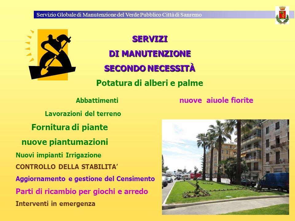 Servizio Globale di Manutenzione del Verde Pubblico Città di Sanremo SERVIZI DI MANUTENZIONE SECONDO NECESSITÀ Potatura di alberi e palme Abbattimenti