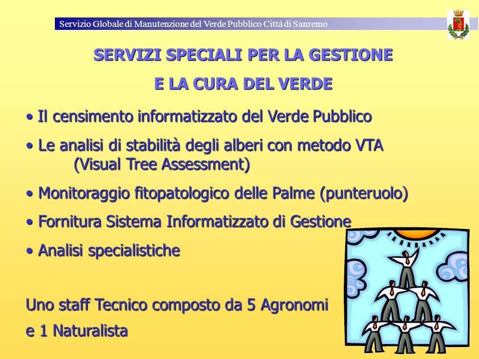 Servizio Globale di Manutenzione del Verde Pubblico Città di Sanremo SERVIZI SPECIALI PER LA GESTIONE E LA CURA DEL VERDE Il censimento informatizzato