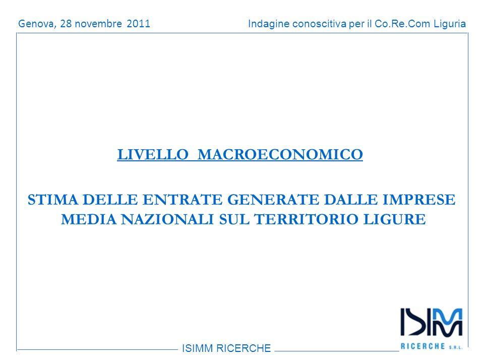 Titolo dellargomento ISIMM RICERCHE Indagine conoscitiva per il Co.Re.Com LiguriaRoma, 14 giugno 2011 STIMA DELLE ENTRATE GENERATE DALLE IMPRESE MEDIA NAZIONALI SUL TERRITORIO LIGURE LIVELLO MACROECONOMICO Genova, 28 novembre 2011
