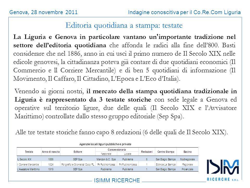 Titolo dellargomento ISIMM RICERCHE Indagine conoscitiva per il Co.Re.Com LiguriaRoma, 14 giugno 2011 Editoria quotidiana a stampa: testate La Liguria e Genova in particolare vantano un importante tradizione nel settore delleditoria quotidiana che affonda le radici alla fine dell800.