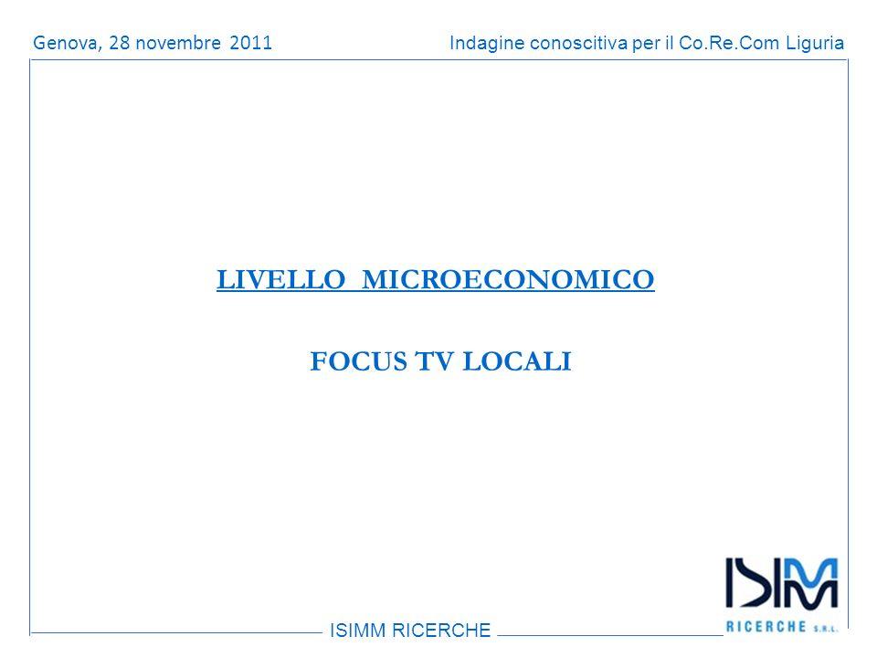 Titolo dellargomento ISIMM RICERCHE Indagine conoscitiva per il Co.Re.Com LiguriaRoma, 14 giugno 2011 FOCUS TV LOCALI LIVELLO MICROECONOMICO Genova, 28 novembre 2011