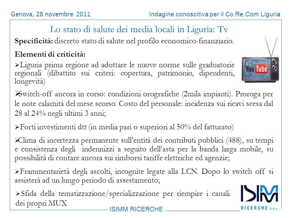 Titolo dellargomento ISIMM RICERCHE Indagine conoscitiva per il Co.Re.Com LiguriaRoma, 14 giugno 2011 Switch-off ancora in corso: condizioni orografiche (2mila impianti).