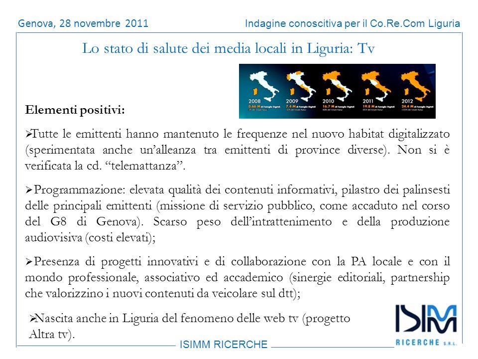 Titolo dellargomento ISIMM RICERCHE Indagine conoscitiva per il Co.Re.Com LiguriaRoma, 14 giugno 2011 Elementi positivi: Tutte le emittenti hanno mantenuto le frequenze nel nuovo habitat digitalizzato (sperimentata anche unalleanza tra emittenti di province diverse).