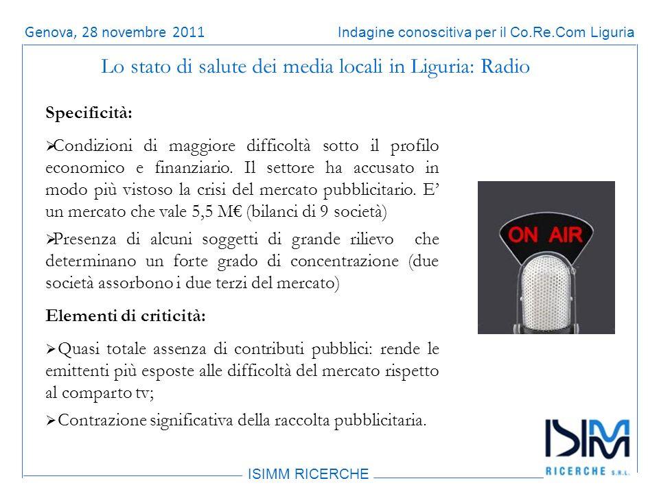 Titolo dellargomento ISIMM RICERCHE Indagine conoscitiva per il Co.Re.Com LiguriaRoma, 14 giugno 2011 Specificità: Condizioni di maggiore difficoltà sotto il profilo economico e finanziario.
