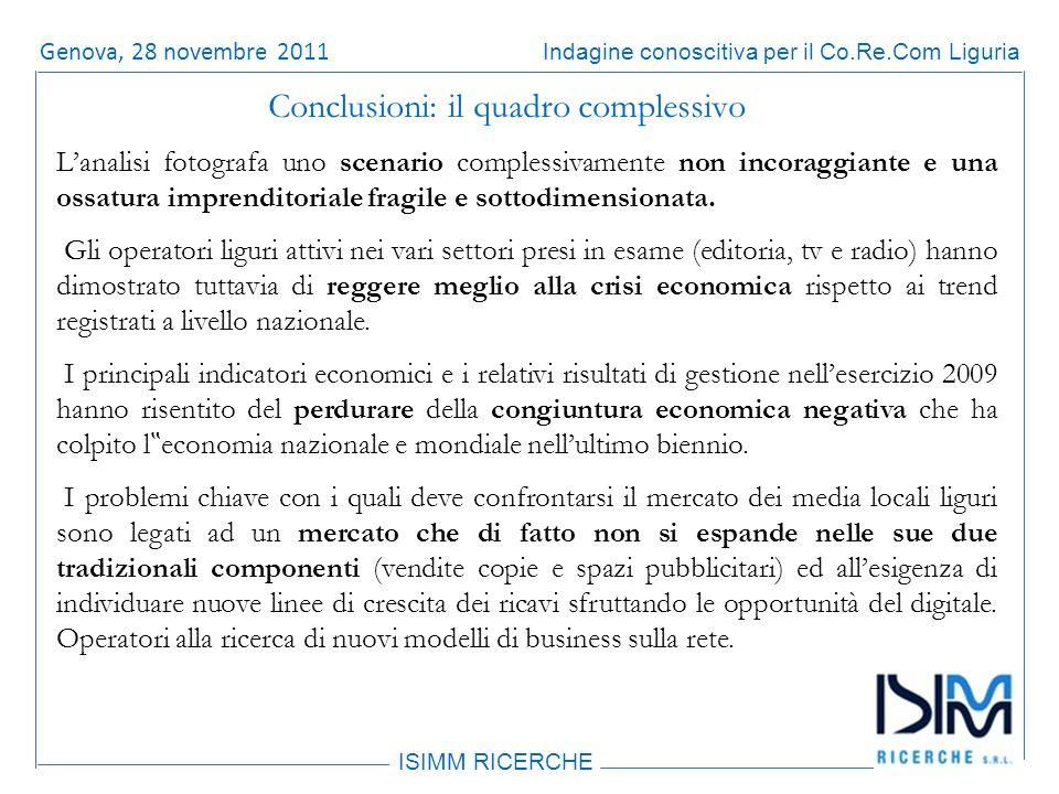 Titolo dellargomento ISIMM RICERCHE Indagine conoscitiva per il Co.Re.Com LiguriaRoma, 14 giugno 2011 Conclusioni: il quadro complessivo Lanalisi fotografa uno scenario complessivamente non incoraggiante e una ossatura imprenditoriale fragile e sottodimensionata.