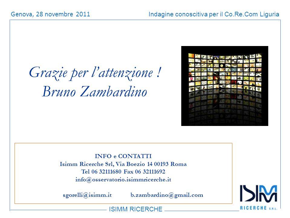 Titolo dellargomento ISIMM RICERCHE Indagine conoscitiva per il Co.Re.Com LiguriaRoma, 14 giugno 2011 Grazie per lattenzione .