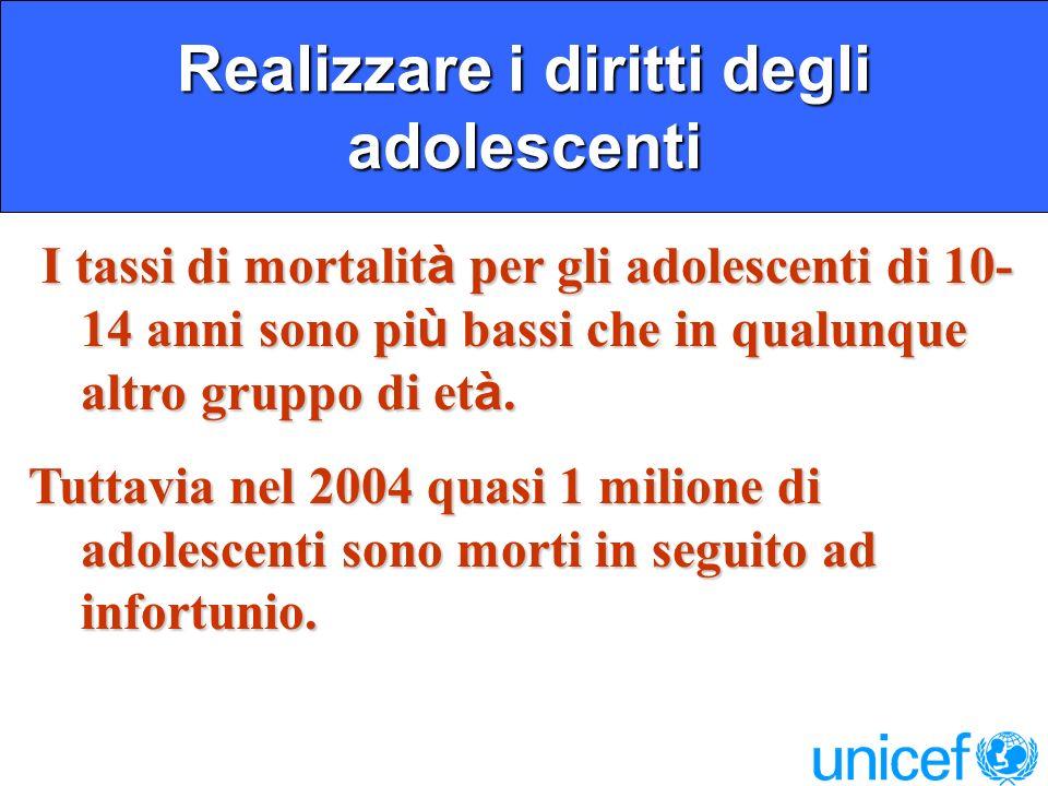 Realizzare i diritti degli adolescenti I tassi di mortalit à per gli adolescenti di 10- 14 anni sono pi ù bassi che in qualunque altro gruppo di et à.