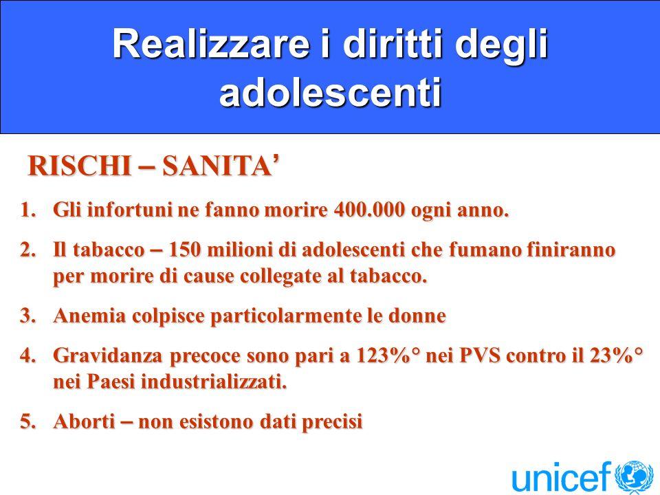 Realizzare i diritti degli adolescenti RISCHI – SANITA RISCHI – SANITA 1.Gli infortuni ne fanno morire 400.000 ogni anno.