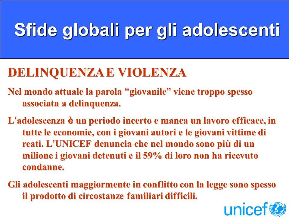 Sfide globali per gli adolescenti Sfide globali per gli adolescenti DELINQUENZA E VIOLENZA Nel mondo attuale la parola giovanile viene troppo spesso associata a delinquenza.