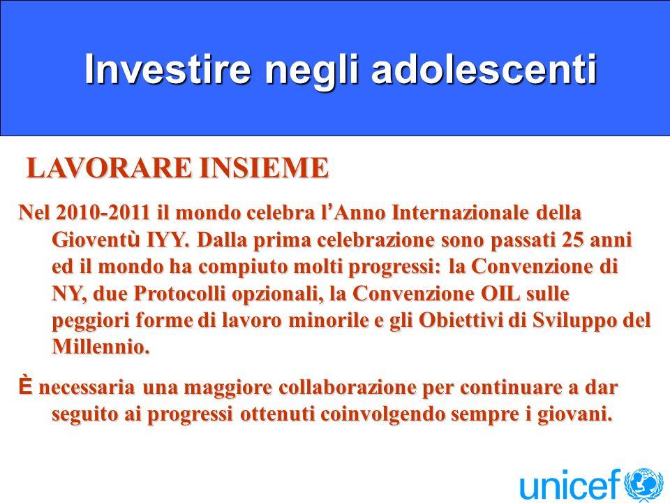 Investire negli adolescenti Investire negli adolescenti LAVORARE INSIEME LAVORARE INSIEME Nel 2010-2011 il mondo celebra l Anno Internazionale della Giovent ù IYY.