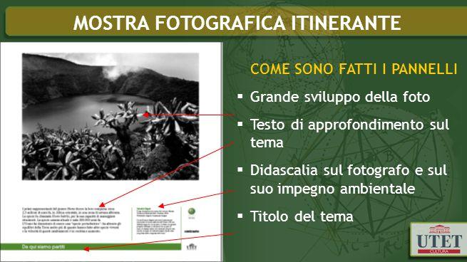 COME SONO FATTI I PANNELLI Grande sviluppo della foto Testo di approfondimento sul tema Didascalia sul fotografo e sul suo impegno ambientale Titolo del tema MOSTRA FOTOGRAFICA ITINERANTE