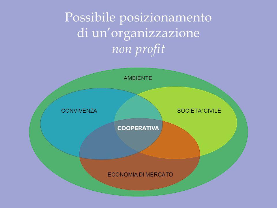 AMBIENTE SOCIETA CIVILE ECONOMIA DI MERCATO CONVIVENZA Possibile posizionamento di unorganizzazione non profit COOPERATIVA