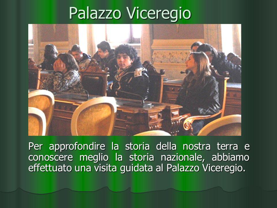 Palazzo Viceregio Per approfondire la storia della nostra terra e conoscere meglio la storia nazionale, abbiamo effettuato una visita guidata al Palazzo Viceregio.