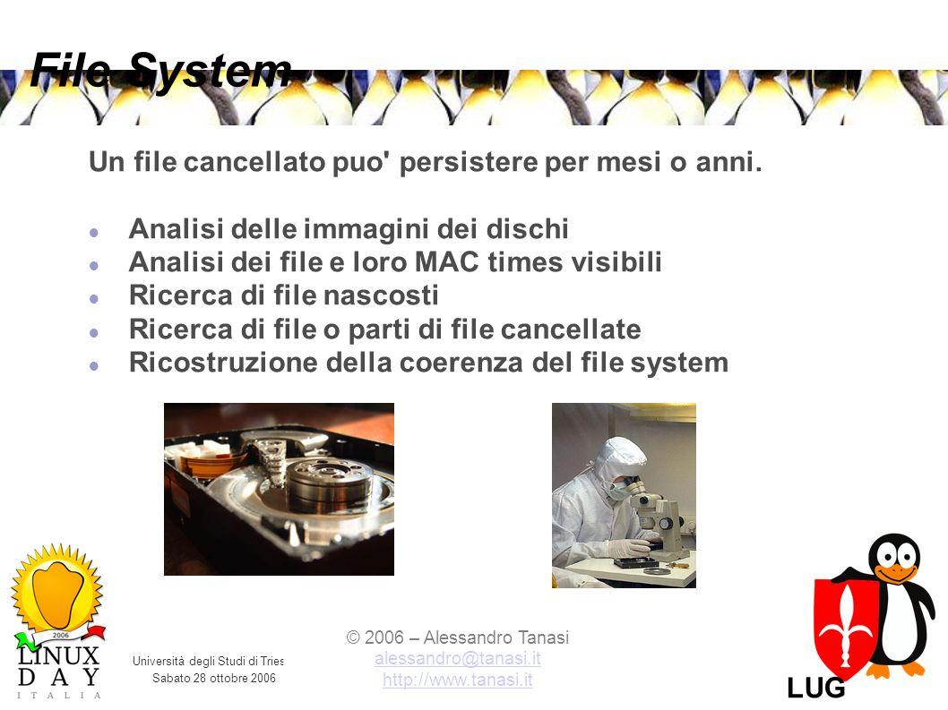 Università degli Studi di Trieste Sabato 28 ottobre 2006 © 2006 – Alessandro Tanasi alessandro@tanasi.it alessandro@tanasi.it http://www.tanasi.it LUG Trieste File System Un file cancellato puo persistere per mesi o anni.