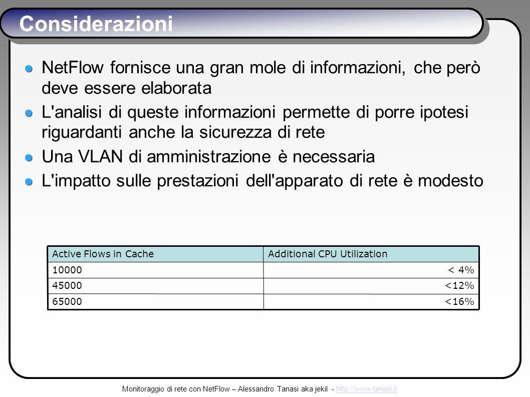 Monitoraggio di rete con NetFlow – Alessandro Tanasi aka jekil - http://www.tanasi.ithttp://www.tanasi.it Considerazioni NetFlow fornisce una gran mole di informazioni, che però deve essere elaborata L analisi di queste informazioni permette di porre ipotesi riguardanti anche la sicurezza di rete Una VLAN di amministrazione è necessaria L impatto sulle prestazioni dell apparato di rete è modesto <16%65000 <12%45000 < 4%10000 Additional CPU UtilizationActive Flows in Cache