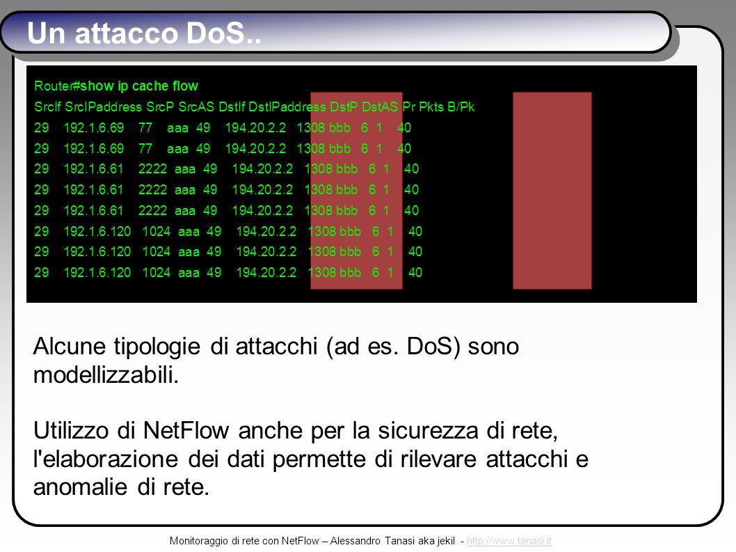 Monitoraggio di rete con NetFlow – Alessandro Tanasi aka jekil - http://www.tanasi.ithttp://www.tanasi.it Un attacco DoS..