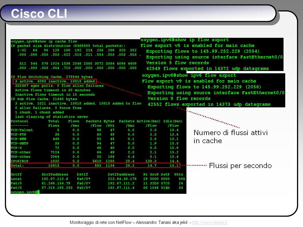 Monitoraggio di rete con NetFlow – Alessandro Tanasi aka jekil - http://www.tanasi.ithttp://www.tanasi.it Cisco CLI