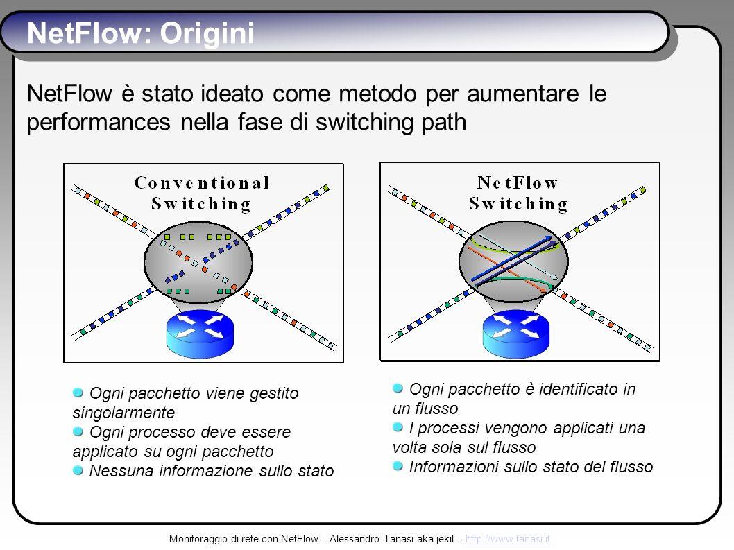 Monitoraggio di rete con NetFlow – Alessandro Tanasi aka jekil - http://www.tanasi.ithttp://www.tanasi.it NetFlow: Origini NetFlow è stato ideato come metodo per aumentare le performances nella fase di switching path Ogni pacchetto viene gestito singolarmente Ogni processo deve essere applicato su ogni pacchetto Nessuna informazione sullo stato Ogni pacchetto è identificato in un flusso I processi vengono applicati una volta sola sul flusso Informazioni sullo stato del flusso