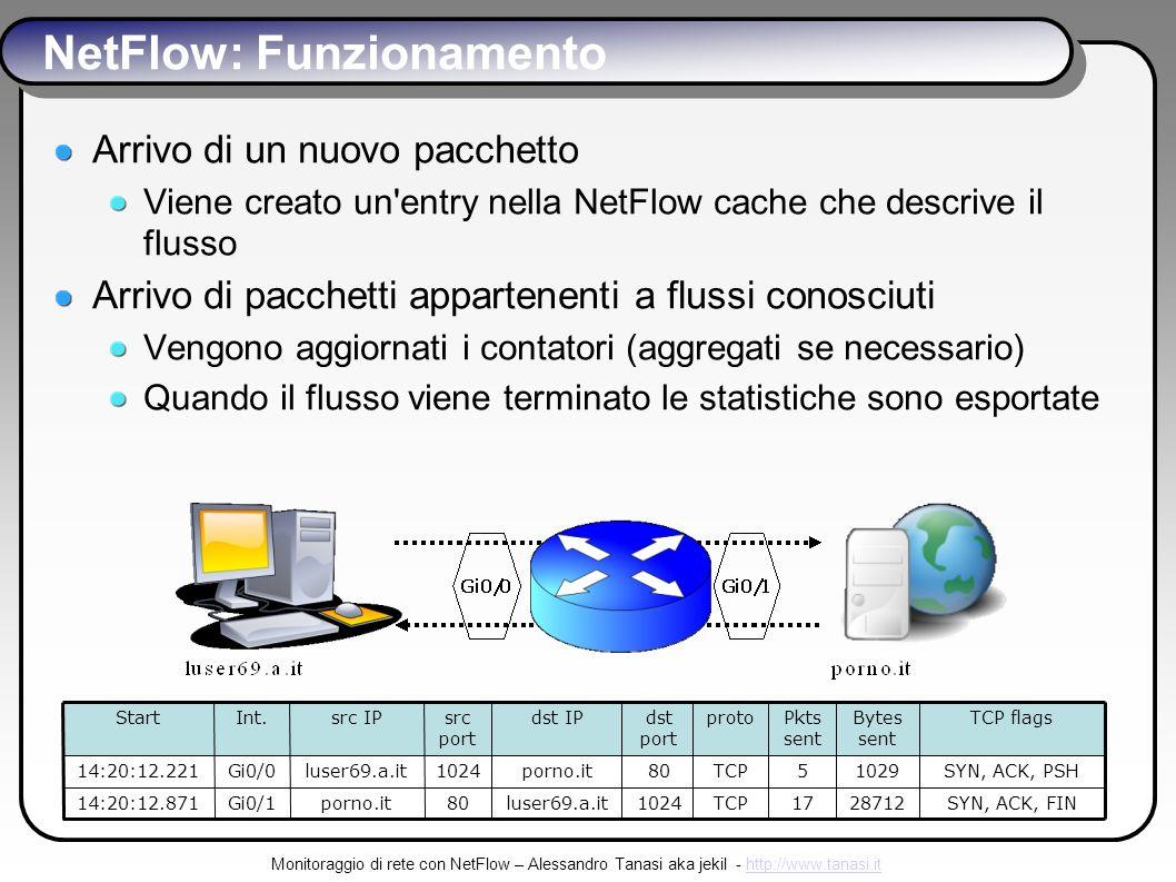 Monitoraggio di rete con NetFlow – Alessandro Tanasi aka jekil - http://www.tanasi.ithttp://www.tanasi.it NetFlow: Funzionamento Arrivo di un nuovo pacchetto Viene creato un entry nella NetFlow cache che descrive il flusso Arrivo di pacchetti appartenenti a flussi conosciuti Vengono aggiornati i contatori (aggregati se necessario) Quando il flusso viene terminato le statistiche sono esportate SYN, ACK, FIN2871217TCP1024luser69.a.it80porno.itGi0/114:20:12.871 SYN, ACK, PSH10295TCP80porno.it1024luser69.a.itGi0/014:20:12.221 TCP flagsBytes sent Pkts sent protodst port dst IPsrc port src IPInt.Start