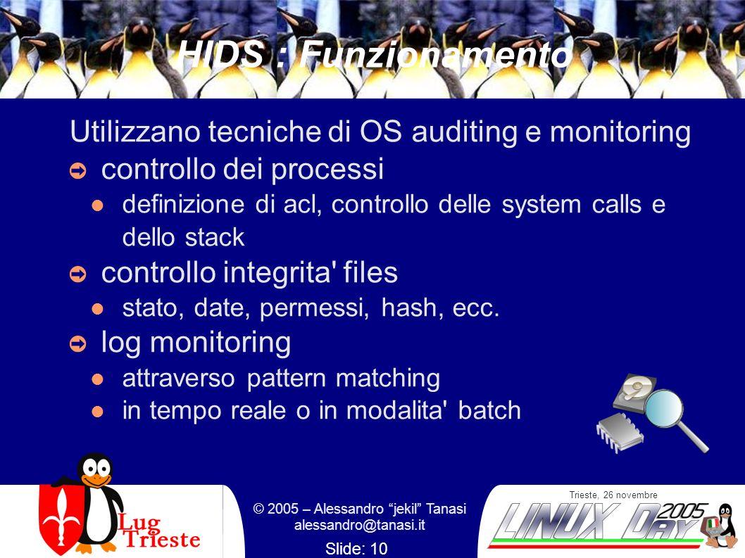 Trieste, 26 novembre © 2005 – Alessandro jekil Tanasi alessandro@tanasi.it Slide: 10 HIDS : Funzionamento Utilizzano tecniche di OS auditing e monitor