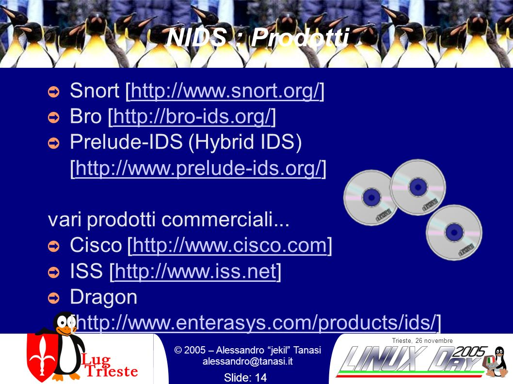 Trieste, 26 novembre © 2005 – Alessandro jekil Tanasi alessandro@tanasi.it Slide: 14 NIDS : Prodotti Snort [http://www.snort.org/]http://www.snort.org/ Bro [http://bro-ids.org/]http://bro-ids.org/ Prelude-IDS (Hybrid IDS) [http://www.prelude-ids.org/]http://www.prelude-ids.org/ vari prodotti commerciali...
