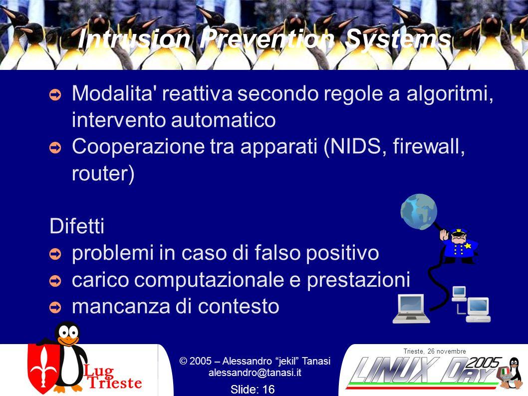 Trieste, 26 novembre © 2005 – Alessandro jekil Tanasi alessandro@tanasi.it Slide: 16 Intrusion Prevention Systems Modalita' reattiva secondo regole a